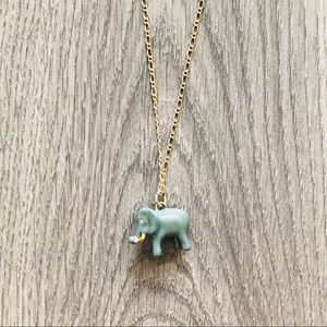 J. Crew Elephant Charm Necklace with Gold Chain